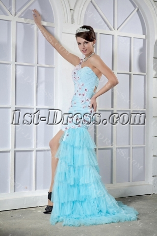 Colorful Short Sweet 16 Dress with Detachable Train GG1022