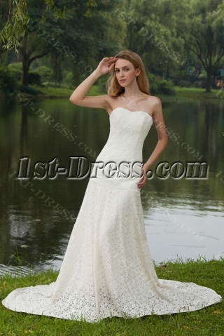 Elegant Simple Lace Bridal Gown with Drop Waist IMG_7981