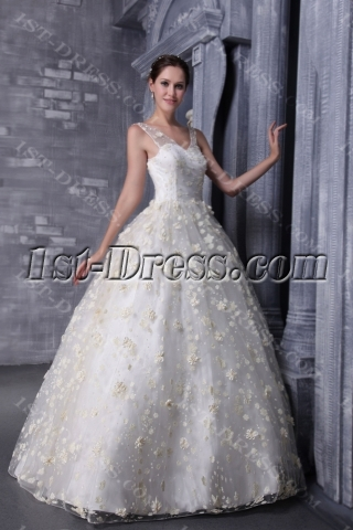Floral Pretty Quinceanera Dress with V-neckline 1175