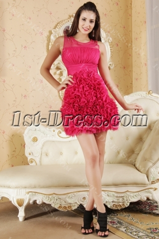 Fuchsia Beautiful Short Quinceanera Dresses IMG_5361