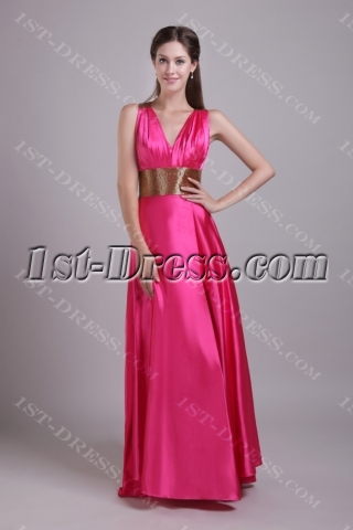 Fuchsia with Gold Sexy Evening Dress with Cross Straps IMG_0747