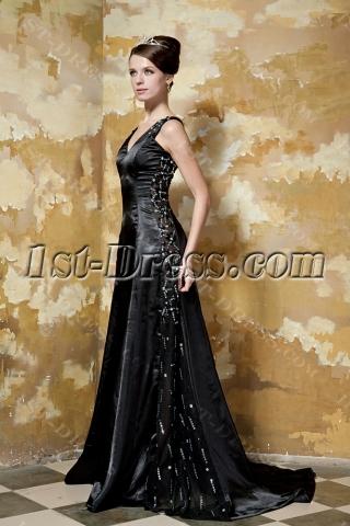 Glamorous Black Long Vintage Prom Dress with V-neckline GG1046