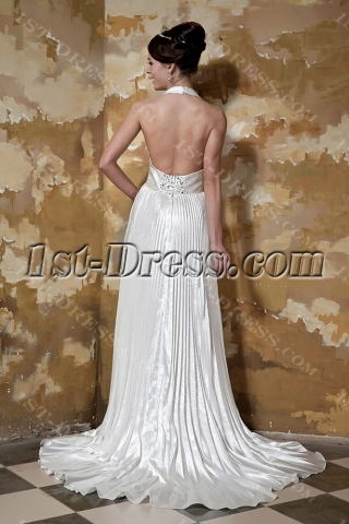Halter Long Beach Backless Wedding Dresses GG1098