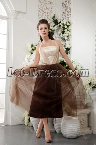 Halter Tea Length Colorful Modest Semi Formal Dresses IMG_0229