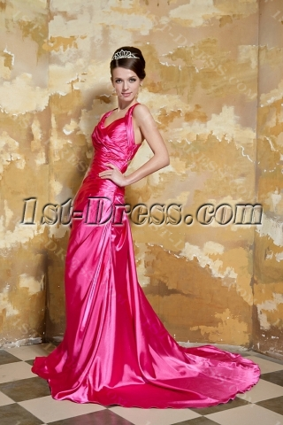 Hot Pink Floor Length Criss Cross Back Prom Dress with Train 2013 GG1057