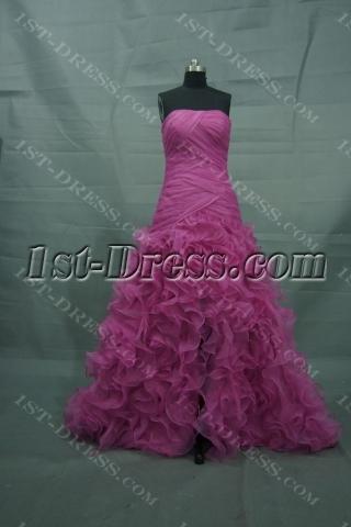 Hot Pink Floor Length Satin Organza Quinceanera Dress 2480