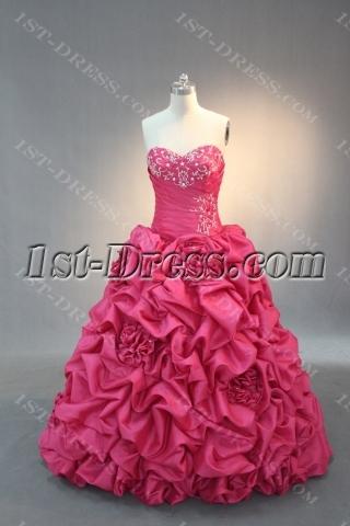 Hot Pink Strapless Sweetheart Taffeta Quinceanera Dress IMG_2092