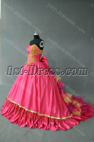 Hot pink and Gold Princess Strapless Sweetheart Taffeta Quinceanera Dress IMG_0346