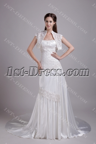 Ivory A-line Princess Wedding Gown with Jacket IMG_0729