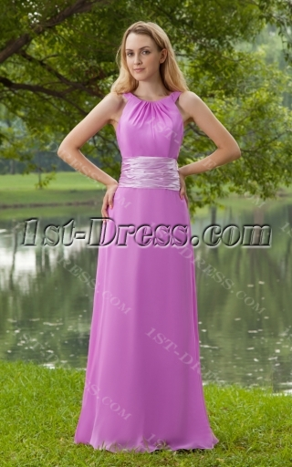 Jewel Neckline Orchid New Vintage Evening Dress Long IMG_8203