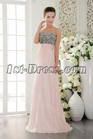 Light Pink with Black Exclusive Pretty Prom Dresses for Sale IMG9524