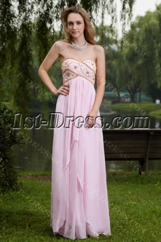 Long Pink and Gold Empire Maternity Evening Dress IMG_7639