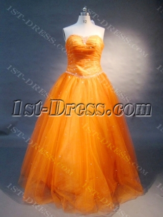 Orange Strapless Satin Tulle  Ball Gown 0455