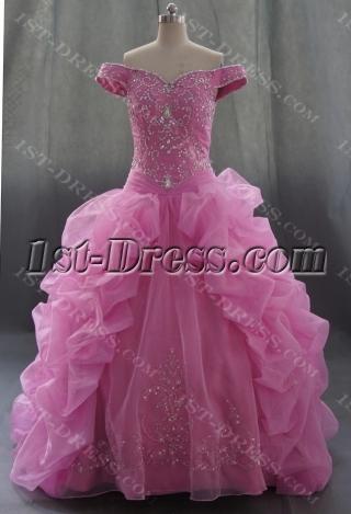 Pink Floor Length Satin Organza Quinceanera Dress 07595