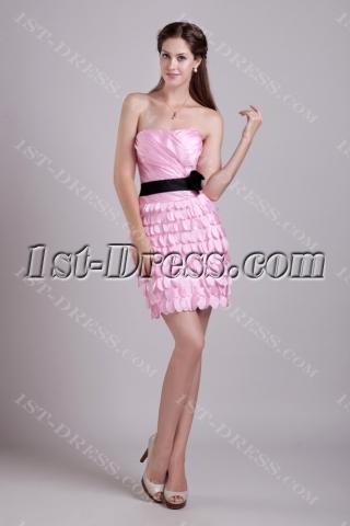 Pink and Black Column Short Celebrity Dress 0888