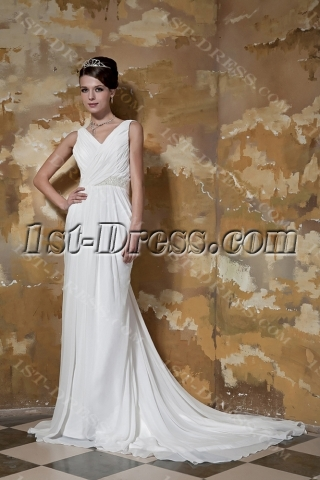 Popular V-neckline Chiffon Plus Size Bridal Gown with Low Back GG1096
