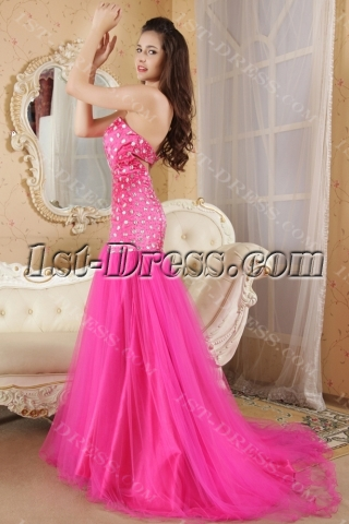Pretty Beaded Fuchsia Mermaid Prom Dresses with Train IMG_5249
