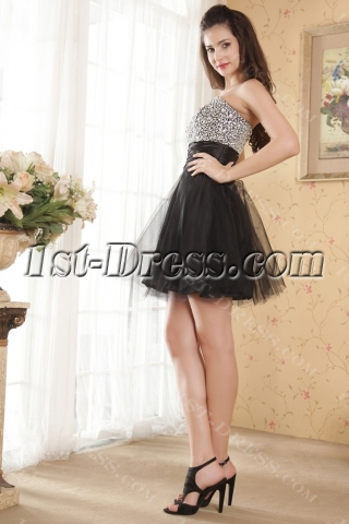 Pretty Short Black and Silver Sweet 16 Dresses IMG_5280