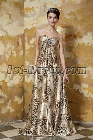 Printed Leopard Sweetheart Empire Long Sexy Evening Dress GG1049