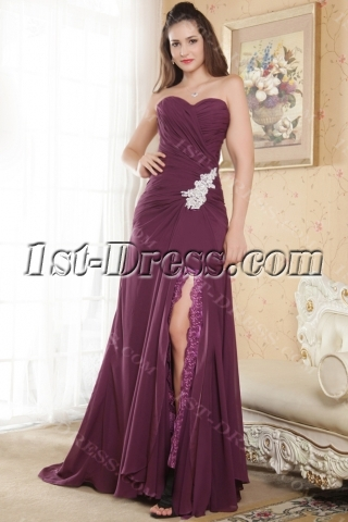 Purple 2013 Split Chiffon Evening Dress IMG_5196