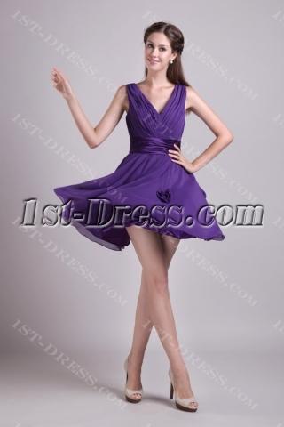 Purple Short Homecoming Dresses Cheap 0874