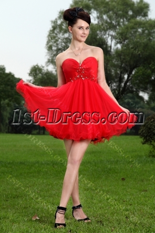 Red Cute Sweet 15 Quinceanera Dresses IMG_1099