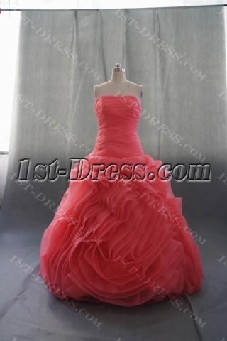 Red Floor Length Satin Organza Wedding Dress 08486
