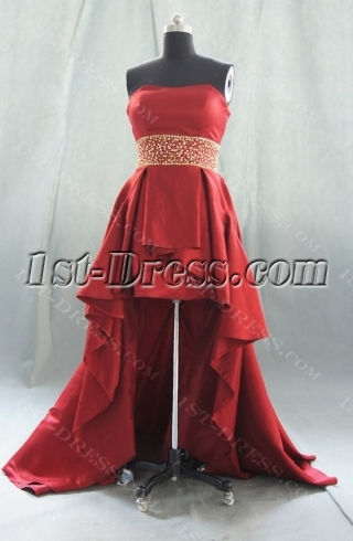 Red Sweetheart Satin Prom Dress 07770