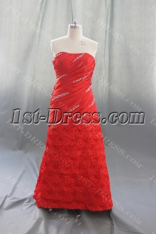 Red Taffeta Plus Size Prom Dress 07476