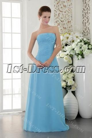 Romantic Long Blue Chiffon Bridesmaid Gown Cheap IMG_9543