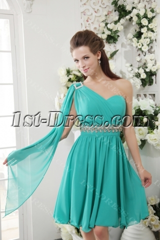 Romantic Teal Green One Shoulder Graduation Gowns for High School IMG_0193