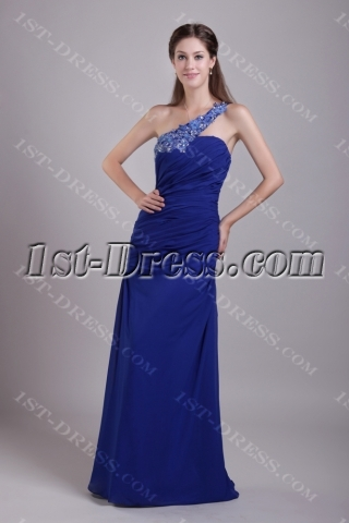 Royal Blue One Shoulder Military Prom Dress IMG_0672