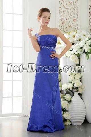 Royal Blue One Shoulder Open Back Sexy Evening Dress IMG_9482