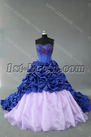 Royalblue And Lavender Strapless Sweetheart Taffeta Quinceanera Dress IMG_0362