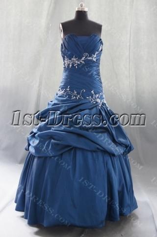 Royalblue Plus Size Princess Strapless Sweetheart Taffeta Quinceanera Dress 07870