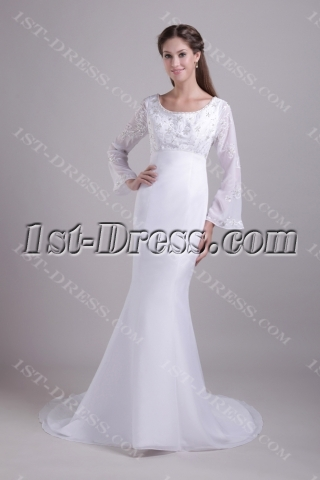 Scoop Long Sleeves Mermaid Winter Wedding Dress 081