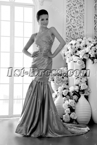 Sheath Champagne 2012 Evening Dress with Train IMG_9441