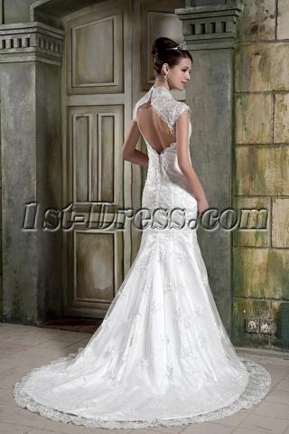Sheath Lace V-neckline Bridal Gown with Keyhole GG1083