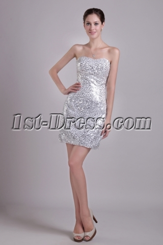 Silver Strapless Short Sequin Homecoming Dress 0976
