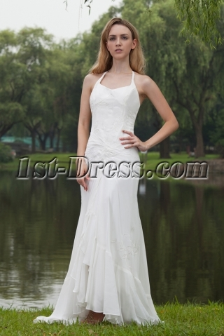 Simple Halter Beach Wedding Dresses Gowns with High-low Hem IMG_7791