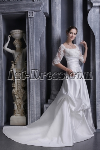 Square Lace Winter Bridal Gown with Long Sleeves 1103