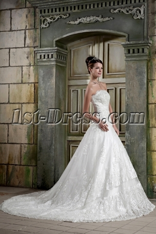 Strapless A-line Classic Lace Wedding Dresses GG1075