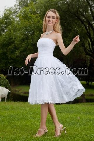 Strapless Lace Short Wedding Dresses IMG_8153