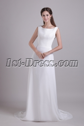Strapless Long Illusion Modest Bridal Gown 0795