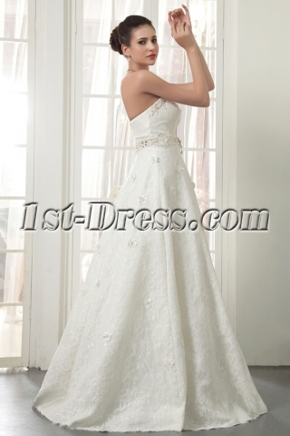 Strapless Long Modern Lace Wedding Dresses Miami IMG_5534