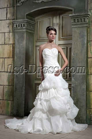 Strapless Romantic Elegant Wedding Gown Dress GG1079