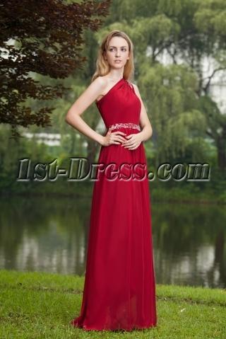 Stylish Burgundy One Shoulder Formal Evening Dress Long IMG_7719