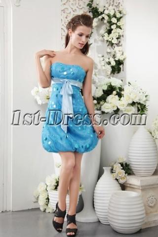 Sweet Teal Blue Spot Short Homecoming Dress IMG_0138