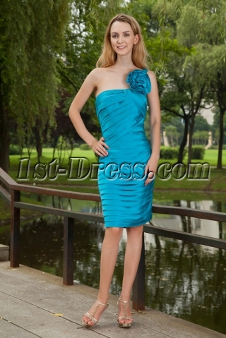 Turquoise Blue One Shoulder Bridesmaid Dresses Cheap with Knee Length IMG_8167