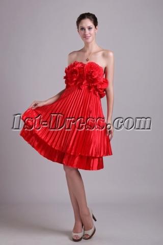 Unique Red Floral Plus Size Evening Gown 1018